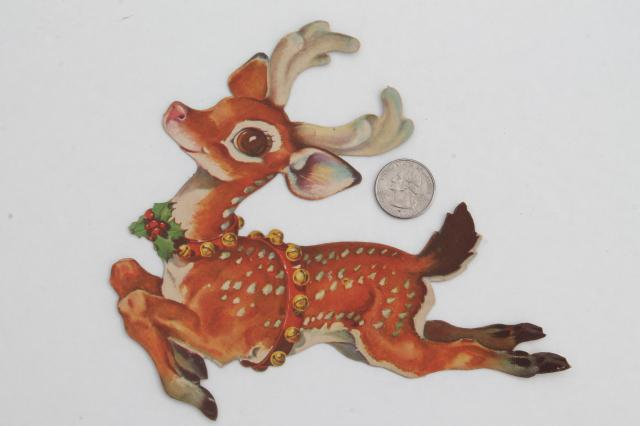 vintage Night Before Christmas story picture book & Santa / reindeer  die-cut paper decorations