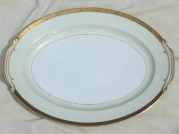 vintage Noritake Goldkin encrusted gold band china, large turkey platter