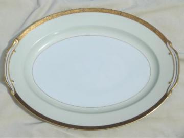 vintage Noritake Goldkin encrusted gold band china, large turkey platter