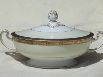 vintage Noritake Goldkin encrusted gold band china, round covered bowl