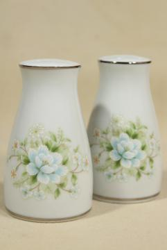 vintage Noritake china Poetry pattern salt and pepper shakers, unused S&P set