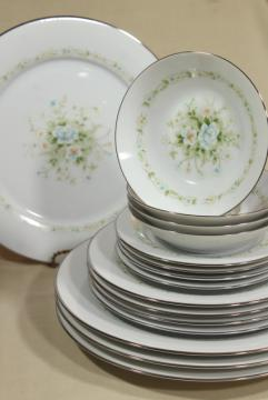 vintage Noritake china, Poetry pattern set for 4, blue & green floral dinnerware