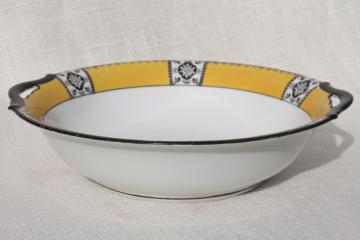 vintage Noritake china serving bowl w/ old M mark, art deco yellow & black design