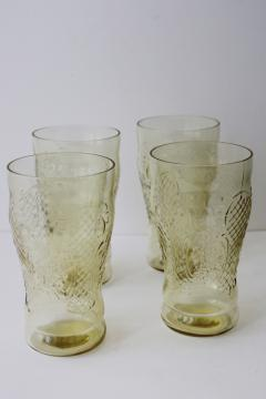 vintage Normandie amber yellow depression glass iced tea glasses, tall tumblers