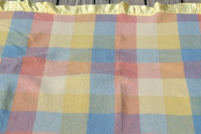 vintage North Star pure wool bed blanket, candy colors pastel checked plaid