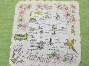 vintage North and South Dakota map print hanky, souvenir handkerchief