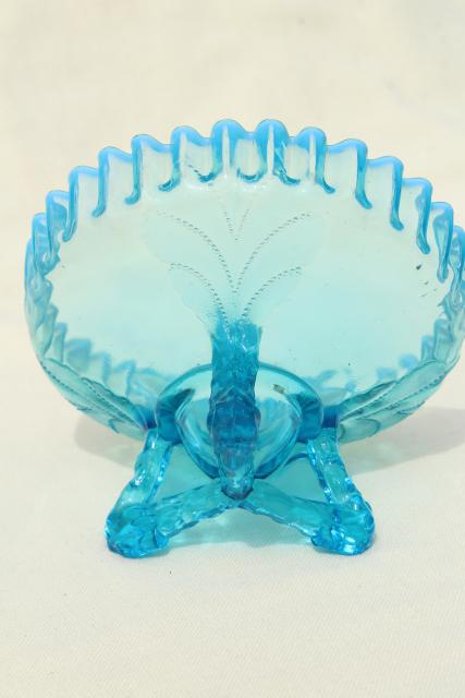 vintage Northwood blue opalescent glass candy dish or flower bowl, beaded leaf pattern