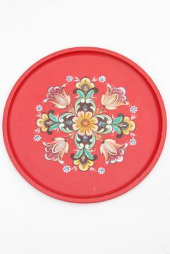 vintage Norway rosemaled folk art round metal serving tray, Norwegian rosemaling