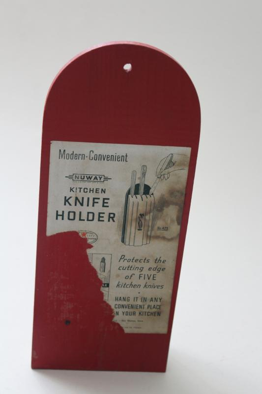 vintage Nuway knife block , 1930s red & white wall hanging wood rack for kitchen knives