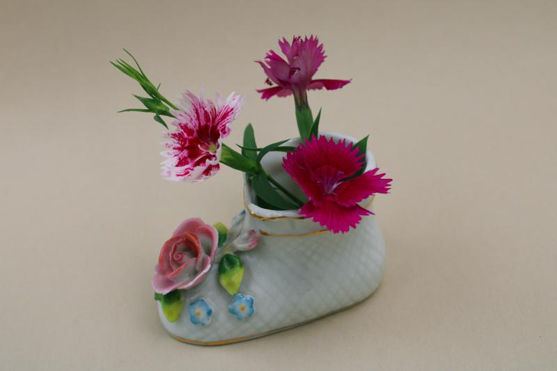 vintage Occupied Japan Maruyama china, baby shoe planter vase w/ applied flowers