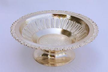 vintage Occupied Japan bonbon dish, ornate silvery metal pedestal server - tea party pretty!