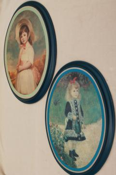 vintage Ohio Art all tin metal framed pictures, impressionist little girl portraits