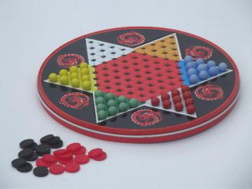 vintage Ohio Art metal litho tin game board, Chinese Checkers & checkers set