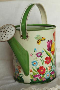 vintage Ohio Art tin litho print toy garden watering sprinkling can w/ bee & spring flowers