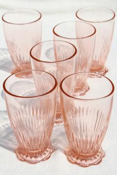 vintage Old Colony lace edge fine rib drinking glasses, pink depression footed tumblers