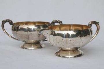 vintage Old English silver plate over copper, antique reproduction cream & sugar set