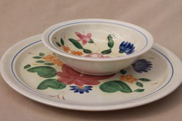 vintage Orleans floral Red Wing pottery dinnerware, serving bowl & large round chop plate platter or tray