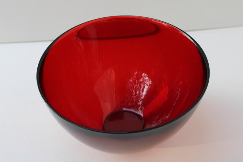 vintage Orrefors crystal made in Sweden, Fuga ruby red art glass bowl