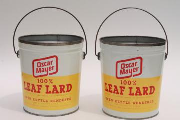 vintage Oscar Meyer lard buckets, lunch bucket size tin can pails