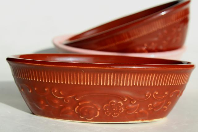 vintage Oven Serve pottery bowls, oval dishes w/ embossed floral Homer Laughlin & TST
