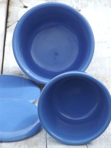 vintage Oxfordware pottery fridge boxes set of covered bowls in cornish blue & vintage Oxfordware pottery fridge boxes set of covered bowls in ...
