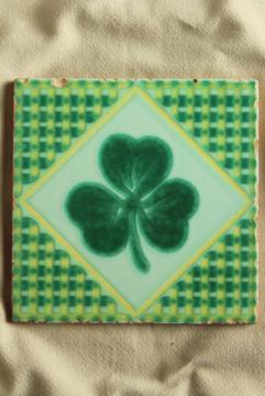 vintage Pacific pottery tile, lucky Irish clover green shamrock design