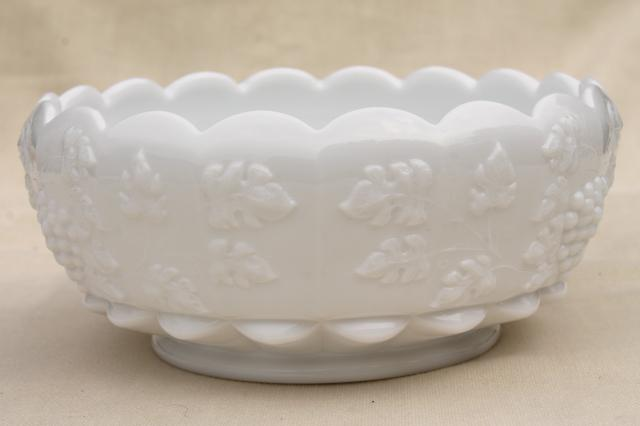 vintage Paneled Grape pattern milk glass, footed bowl w/ WG Westmoreland mark