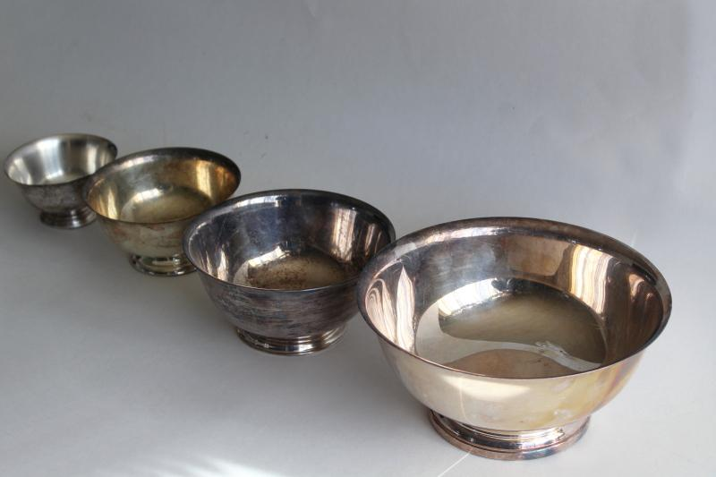 vintage Paul Revere bowls in graduated sizes, silverplate not sterling silver