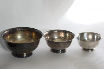 vintage Paul Revere bowls trio of graduated sizes, silverplate not sterling silve