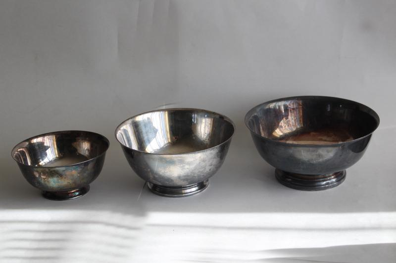 vintage Paul Revere bowls trio of graduated sizes, silverplate not sterling silver