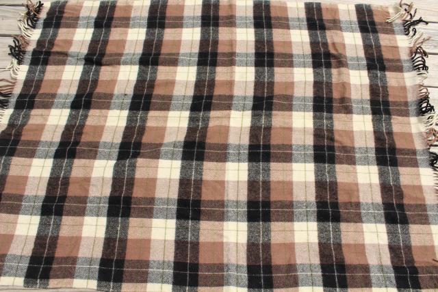 vintage Pendleton plaid wool camp blanket, rustic primitive bunk or bed blanket for cabin or lodge