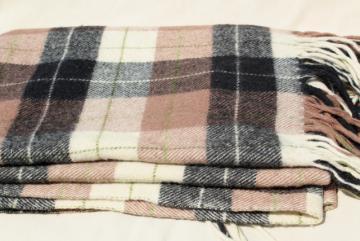 vintage Pendleton plaid wool camp blanket, rustic primitive bunk or bed blanket for cabin or lodge