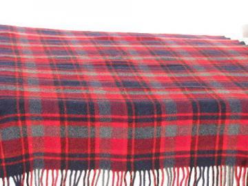 vintage Pendleton plaid wool camp throw blanket, scots tartan in red