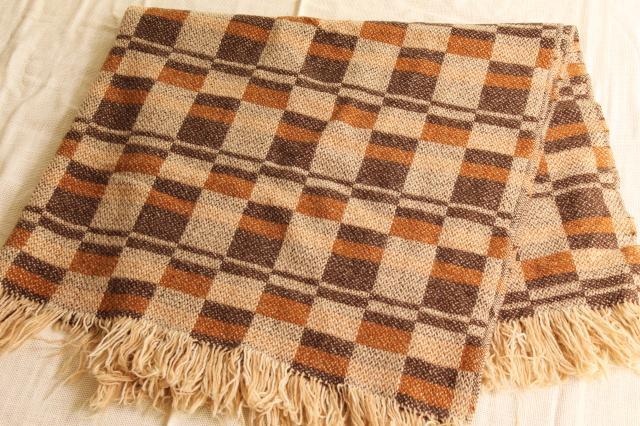 vintage Pendleton wool blanket, fringed camp blanket / throw in warm fall colors
