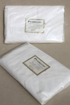 vintage Penobscot label white cotton sheets, mint in package full double bed fitted sheet lot