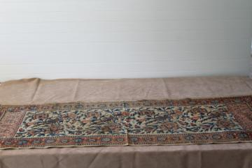 vintage Persian paisley block print fabric table runner from Iran, bohemian home decor