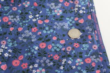 vintage Peter Pan cotton print fabric, dusk blue pink white tiny floral calico