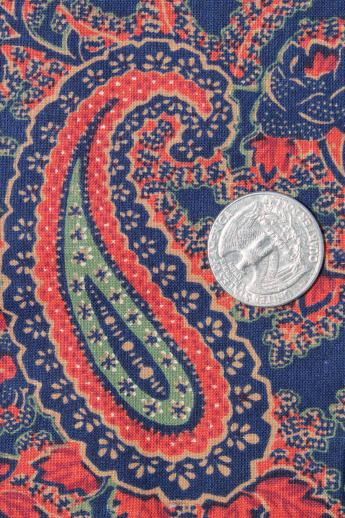 Vintage Peter Pan Print Cotton Fabric Red Amp Indigo Blue