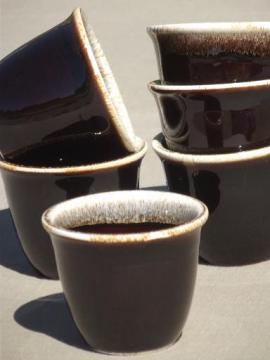 vintage Pfaltzgraff brown drip pottery custard cups or jam pots set of 6
