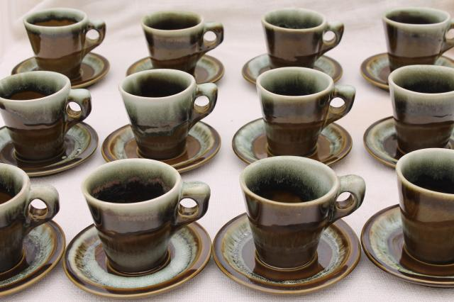 vintage Pfaltzgraff copper green drip glaze pottery, 12 heavy stoneware cups & saucers