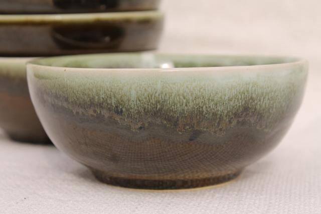 vintage Pfaltzgraff copper green drip glaze pottery, cereal / oatmeal bowls set of 6