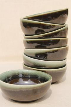 vintage Pfaltzgraff copper green drip glaze pottery, cereal / oatmeal bowls set of 8