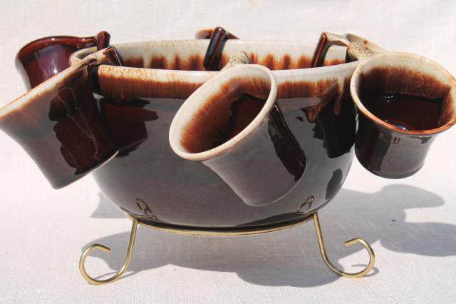 vintage Pfaltzgraff gourmet brown drip glaze pottery punch set bowl & hook handle cups
