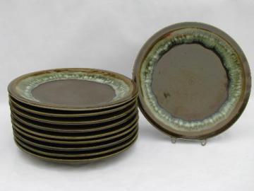 vintage Pfaltzgraff pottery, green drip gourmet stoneware, 10 dinner plates