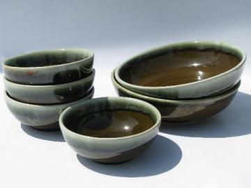 vintage Pfaltzgraff pottery, green drip gourmet stoneware bowls