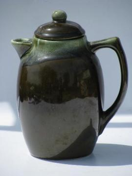vintage Pfaltzgraff pottery, green drip gourmet stoneware coffee pot