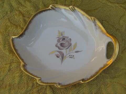 vintage Pickard china leaf shape dishes, floral patterns w/ gold