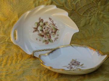 vintage Pickard china leaf shape dishes, floral patterns w/ gold