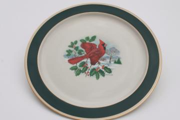 vintage Pickard china red cardinal bird Christmas holiday platter plate or round tray