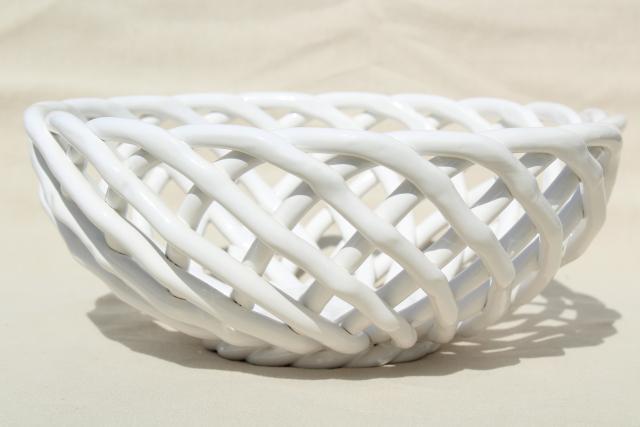 Vintage pier glossy white ceramic basket weave fruit
